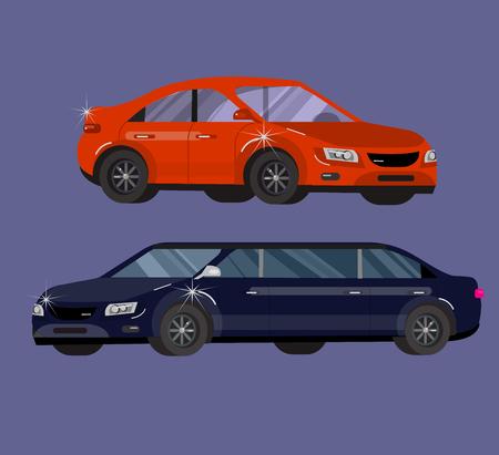 sedan: Stylish flat Car. Transport car Symbols collection, limousine black and white, family car, sedan car and truck. Vector car