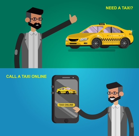 user friendly: Vector detailed character men with phone taxi hire service application running, taxi creative infographics, taxi design on public taxi service, taxi application featuring yellow taxi. Vector taxi
