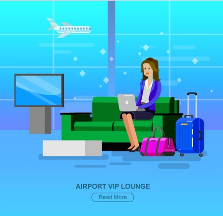 airport terminal: Vector detailed characters people in airport lounge. Woman goes VIP lounge Airport, people baggage claim, waiting hall flat  illustration