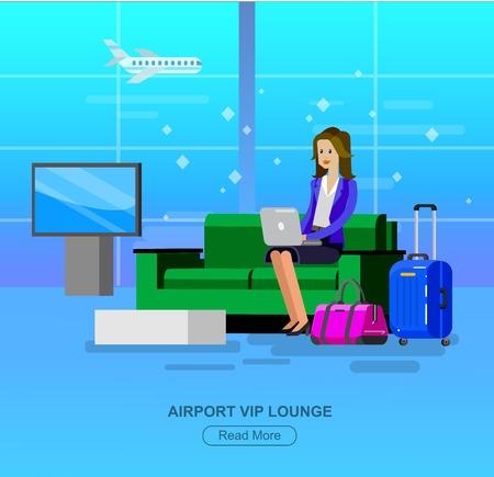 gente aeropuerto: Vector detall� caracteres personas en la sala del aeropuerto. La mujer va sal�n VIP del aeropuerto, reclamo de equipaje de personas, ilustraci�n pasillo plano de espera