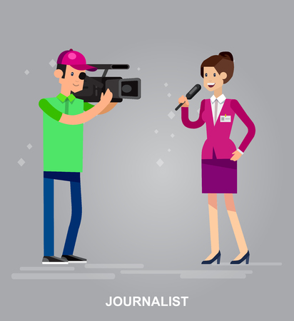 interviewer: Mass media design concept set with journalists preparing news materials operators working with camera and interviewer vector illustration