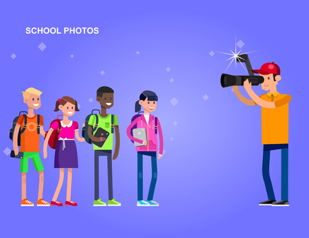 cool detailed character Photographer with camera photographs school children, a boy and a girl Stock Illustratie