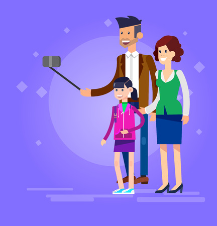 shots: Vector detailed character make Selfie. Selfie shots family and couples Selfie. Selfie shot man, man make Selfie with his wife and children. Vector selfie people set, life with selfie photo camera Illustration
