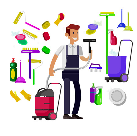 housekeeper: Poster design for cleaning service and cleaning supplies. Vector detailed character professional housekeeper. Cleaning kit icons isolated on white background. Vector cleaning. Illustration cleaning