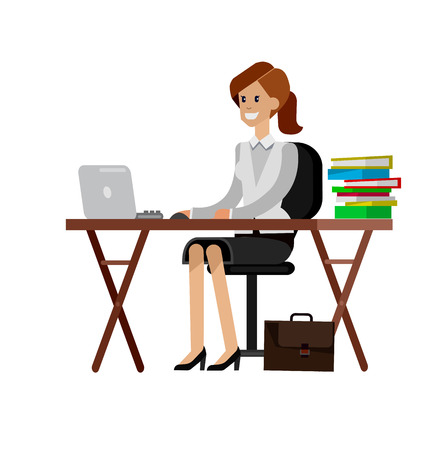 tutor: Woman teacher tutor at the desk.  Flat teacher, style vector teacher, teacher illustration