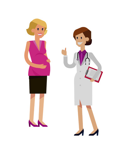 happy pregnant: detailed character happy pregnant woman having a doctor visit in hospital. Gynecologist woman indicates that everything is OK. Cool flat  illustration isolated on white background. Illustration