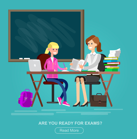 tutor: Woman teacher tutor tutoring girl kid at home. Mother helping daughter with homework. Flat teacher, style vector teacher, teacher illustration
