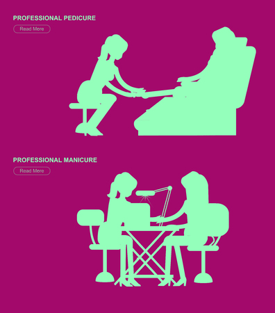 bodycare: Detailed Manicurist silhouette character makes a professional manicure and pedicure woman. Template for beauty saloon