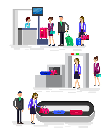 Vector detailed characters people in airport lounge. Woman is registered, checks the metal scanner, people baggage claim, flat  illustration isolated on white background.