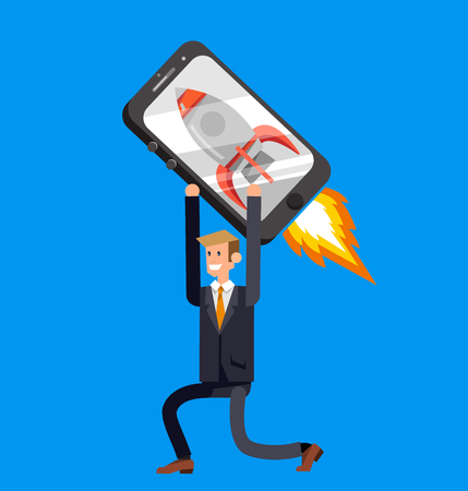 api: Vector detailed character with smartphone as rocket, startup. Mobile innovation, app construction site, user interface building process, api coding for phone application and development Illustration