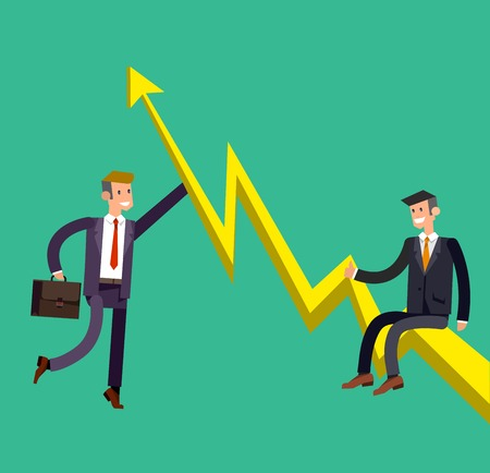 climbed: Vector detailed character businessman climbed the growing schedule . Business concept career growth job change. Web vector illustration Illustration