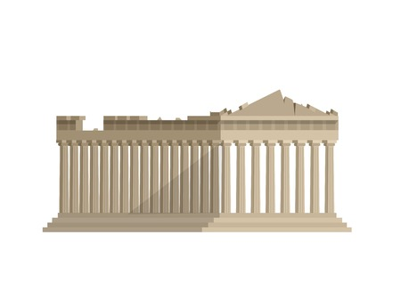 parthenon: High quality, detailed most famous World landmark. Flat design of parthenon greek illustration vector