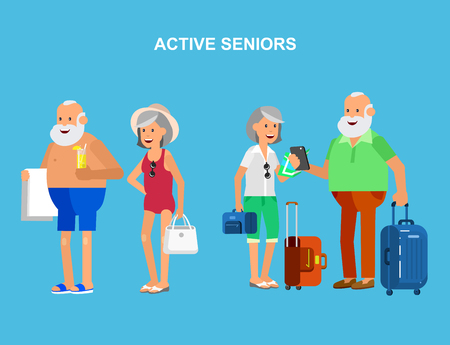 retired: Character travelers. Old age retired tourists. Elderly couple senior having summer vacation with map and gadget, senior in swimsuits go on beach