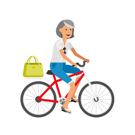 retired: vector detailed character age traveler. Old age retired tourist summer vacation. Old woman riding on a bicycle. Active senior