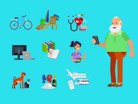 excursions: vector detailed character senior, age man and icons. Pension hobbies and interests leisure of pensioner Illustration