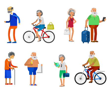 retired: Character travelers. Old age retired tourists. Elderly couple senior having summer vacation with map and gadget, senior in swimsuits go on beach, riding on a bicycle. Healt icons Illustration