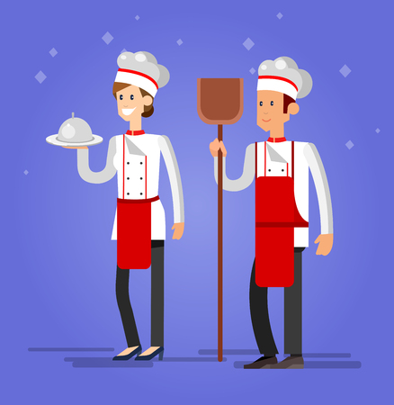 bread maker: Vector detailed characters woman and man professional chef, Cook baker, flat design Illustration