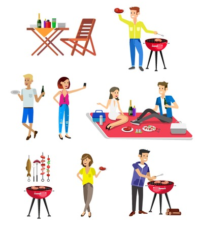 family picnic: Vector character set, people on Family picnic or Bbq party. Food and barbeque, summer and grill