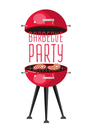 meat on the grill illustration, picnic or Bbq party. Food and barbeque Illustration