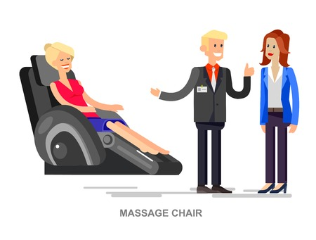 armchair shopping: Vector detailed character seller man sells massage chair. Woman buy massager and relax, cool flat  illustration isolated on white background.