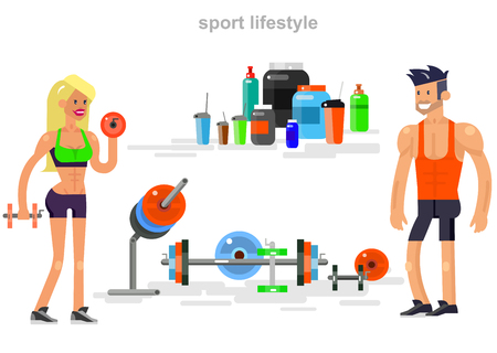 fitness equipment: Gym design concept with Vector detailed character men and women bodybuilder. Workout with fitness equipment and sports nutrition, cool flat illustration