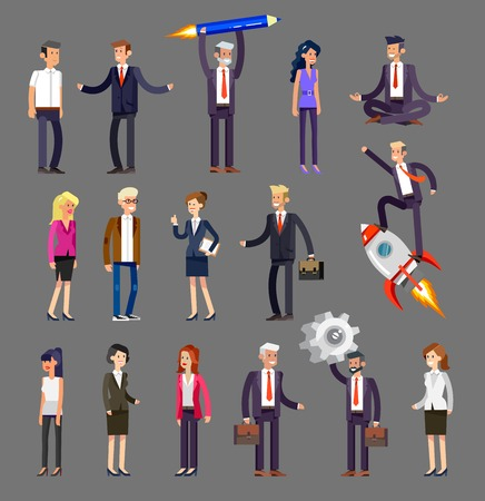 Vector detailed characters, men and women in action. Business people shake hands, with a briefcase, secretary, big boss, startup man, colleagues Illustration