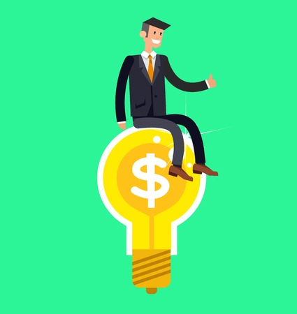 science symbols metaphors: Vector detailed character businessman found a great idea. Concept web vector illustration
