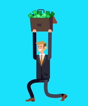 investor: Vector detailed character business investor has the money gains. Web concept Illustration