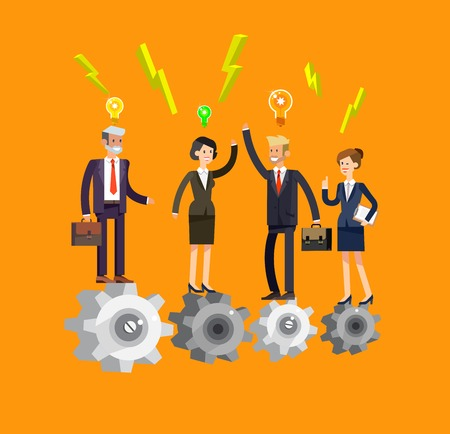 turn up: Vector detailed character businessman and businesswoman pieces of company mechanism. Business concept, team turn up cog wheel gear infographic