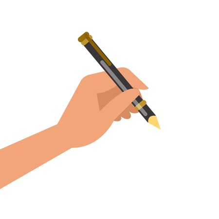 hand writing: Hand holding pen and writing. Vector illustration Illustration
