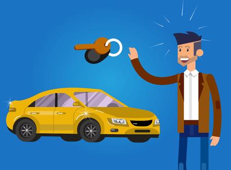 concepto de diseño de elección y la compra de un coche. Vector detallada carácter comprador y el vendedor, ilustración plana fresco.