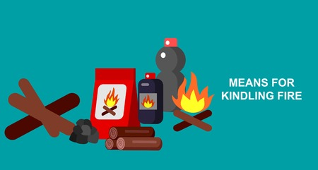 kindling: Hiking and camping object. Means for kindling fire. Vector flat illustration.