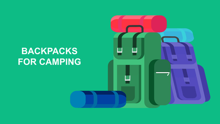 hike: Hiking and camping object. Backpacks hike. Vector flat illustration.