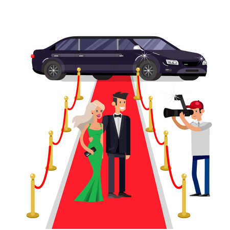 Vector detailed character rich and beautiful celebrities, man in tails and blond woman in evening dress, celebrities walking on a red carpet, with limousine Vectores