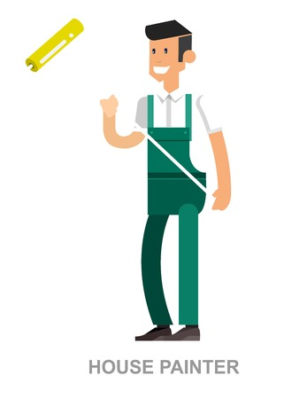 ladder  fence: Vector detailed character man working and home repairing tools isolated vector illustration