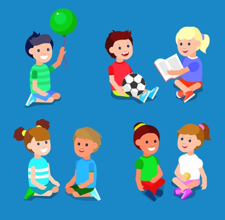 kindergarden: Cute vector character child playing with ball, read book. Vector for Celebration children day Illustration