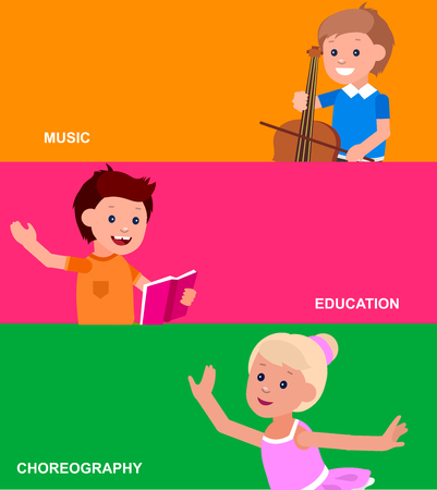 contrabass: Cute vector character. Happy kid illustration reading a book, playing on contrabass, dancing. Education and child development. Banner for the kindergarten or children club, school of Arts