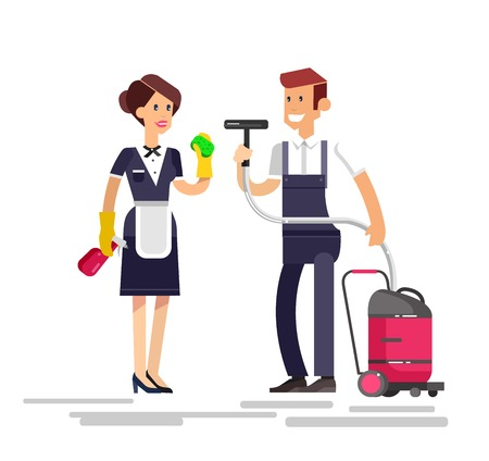 whisk broom: Poster design for cleaning service and supplies. Vector detailed character professional housekeeper Illustration