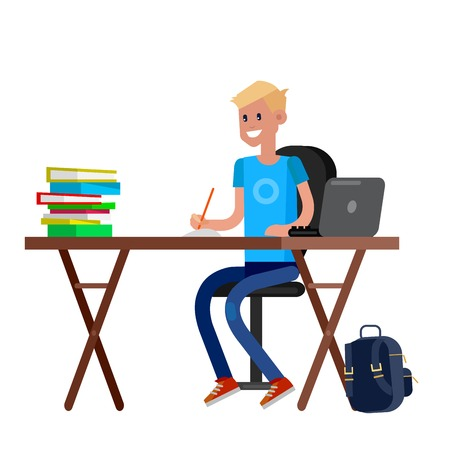 Boy studying in classroom with homework. Flat illustration