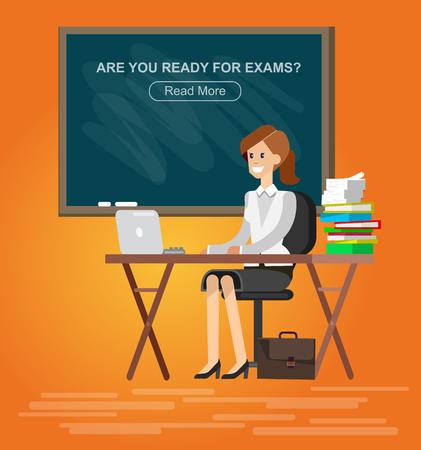 tutor: Woman teacher tutor at the desk in the classroom. Flat illustration