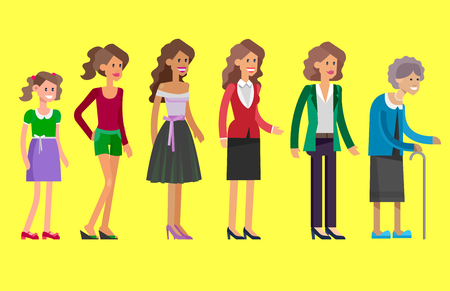 categories: Detailed character woman Generations . All age categories - infancy, childhood, adolescence, youth, maturity, old age. Stages of development Illustration