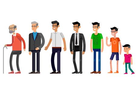 Detallados Generaciones carácter hombre. Todas las categorías de edad - infancia, niñez, adolescencia, juventud, madurez, vejez. Etapas del desarrollo aislados sobre fondo blanco