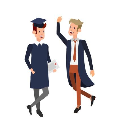 Vector karakter en afgestudeerde studenten, studenten afstuderen. Universitaire opleidingen, online onderwijs, examenvoorbereiding