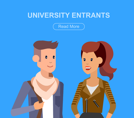 Vector character students, students graduation. University courses, online education, exam preparation Illustration