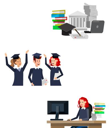 scholarship: Vector character graduate and students, students graduation. University courses, online education, exam preparation