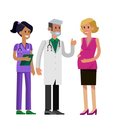 doctor visit: detailed character pregnant woman having a doctor visit in hospital. Gynecologist men and smiling nurse  indicates that everything is OK. Cool flat  illustration isolated on white background. Illustration