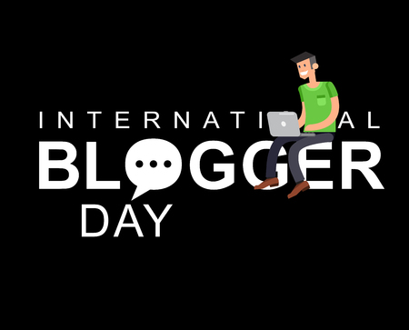 copywriting: Vector detailed character with laptop. World blog day card. Concept of social media campaign blogging, copywriting marketing information, public relations advertising text.