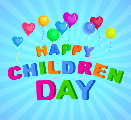 childrens day: Happy childrens day background. Calligraphy lettering illustration