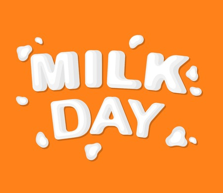 Concept poster to advertise milk. Vector illustration with lettering