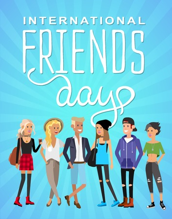 brother brotherhood: Group of happy friends with Friends day title. Cartoon hand drawn illustration Illustration